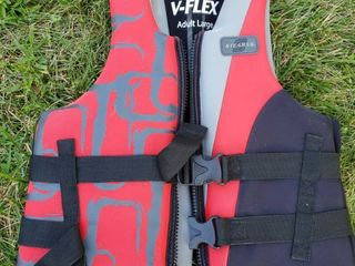 Red and Black Stearns life Jacket Adult large