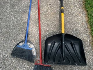 lot of 2 Brooms and 1 Snow Shovel