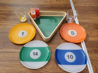 Pool Table Themed Glasses and Appetizer Tray