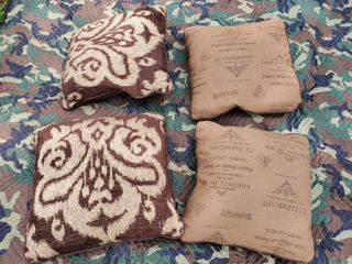 lot of 4 leather and Brown Fabric Pillows