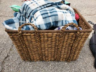 large Wicker Basket   Includes Mega lot of Blankets