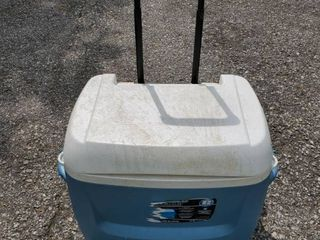 Blue Igloo Cooler with Wheels