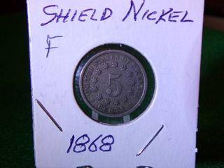 1868 SHIELD NICKEL - F