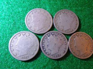 5  V  NICKElS   1907  2 1908  2 1912 D