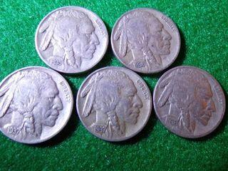 5 BUFFAlO NICKElS   1935  1936 D  1936  1937  1937 S