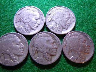 5 BUFFAlO NICKElS   1928  1935  1936   1937  1937