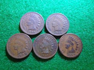 5 INDIAN HEAD CENTS