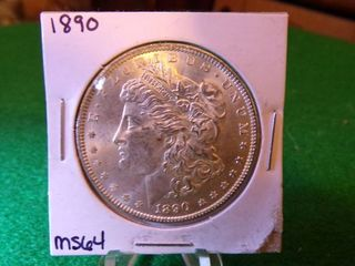 1890 MORGAN SIlVER DOllAR   MS64
