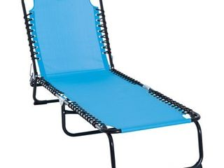 Outsunny 3 Position Reclining Beach Chair Chaise lounge Folding Chair with Comfort Ergonomic Design  light Blue