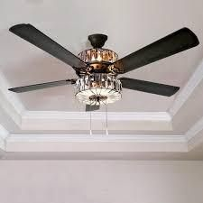 Silver Orchid March Caged Crystal Ceiling Fan   52 l x 52 W x 18 H  Retail 205 53