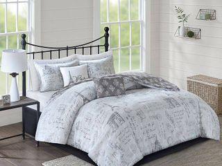 510 Design Mariam Gray  Charcoal 5 Piece Reversibel Paris Printed Comforter Set