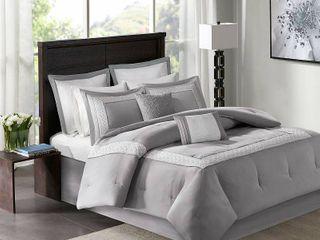 Madison Park Carlton Grey Pieced Embroidered 8 Piece Comforter Set  Retail 113 91