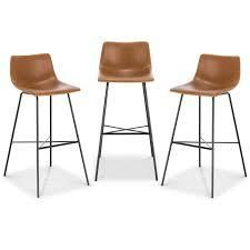 Poly and Bark Paxton 24  Counter Stool  Set of 3  Retail 349 99 whiskey brown