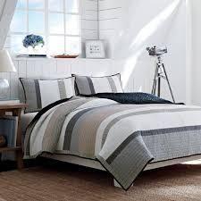 Nautica Tideway Neutral Stripe Cotton Reversible Quilt  Retail 138 99