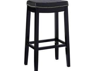 Padded Saddle Seat Barstool Hardwood Black   linon