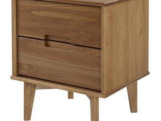 Mid Century Modern 2 Drawer Wood Nightstand   Caramel