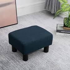 16  Cube Modern linen Footrest Ottoman blue fabric