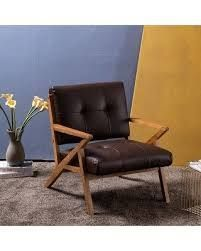 Retro Single Sofa Chair Solid Wood Lounge Accent Chair- Retail:$158.49