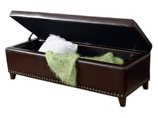 Gavin Contemporary Storage Ottoman with Nailhead Trim by Christopher Knight Home  Retail 215 09