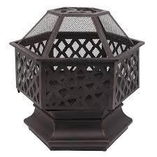 22  Hexagonal Shaped Iron Brazier Wood Burning Fire Pit  Retail 123 99