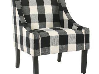 HomePop Modern Swoop Accent Chair   Black Plaid  Retail 218 99