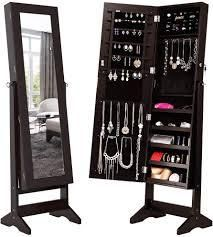 42 Jewelry Storage Adjustable Mirror Cabinet with lED lights   4layer 2Drawers  Retail 89 99 dark brown
