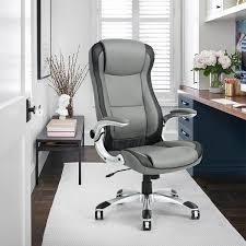 Porch   Den Nehalem Black  Grey PU leather Excutive Desk Chair  Retail 229 99 grey