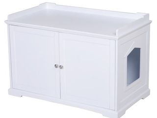 PawHut 37 5  Wooden Covered Mess Free Cat litter Box End Table Hideaway Cabinet with Storage  Retail 168 49
