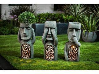 See  Hear  Speak No Evil Set of 3 Garden Easter Island Solar Statues  Retail 154 99