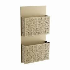 The Curated Nomad Avery Contemporary Iron Perforated Designed Gray 2 pocket Wall letter Holder
