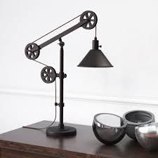 Carbon loft Tirith Industrial Farmhouse Table lamp with Pulley System  Retail 108 49 aged steel finish
