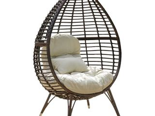 Cutter Teardrop Wicker lounge Chair with Cushion by Christopher Knight Home   Retail 397 49