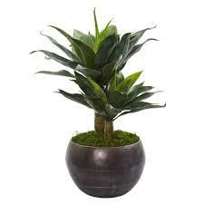 31  Double Agave Artificial Plant in Metal Bowl Planter  Retail 119 49