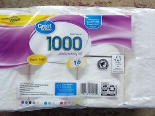 Great Value 1000 Bath Tissue Rolls  16 count