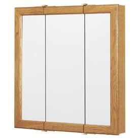 Style Selections 24 25 in x 24 in Oak Particleboard Surface Mount Medicine Cabinet
