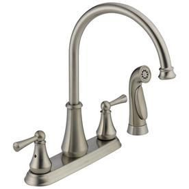 Delta lewiston Stainless High Arc Kitchen Faucet with Side Spray