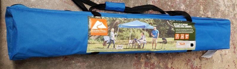 Ozark Trail 10Ftx10Ft Instant Slant leg Canopy Outdoor Patio Folding Gazebo Canopy Shade Shelter  Blue