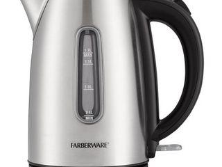 Farberware Stainless Steel 1 7 liter Electric Tea Kettle  Silver  Cordless