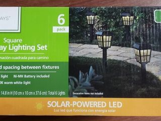 Mainstays Solar Path light Set in Square Design  Black  6 Pack
