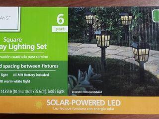 Mainstays Solar Path light Set in Square Design  Black  6 Pack