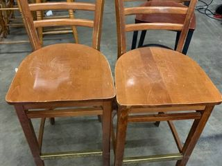 Set of 2 bar stools-wood seats have scratches