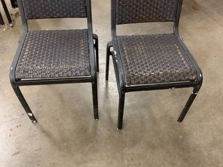 Set of 4 patio chairs, metal and wicker like material