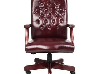 Boss Office Products Classic Executive Caressoft Chair with Mahogany Finish in Burgundy  MISSING CASTERS AND HYDRAUlIC TUBE