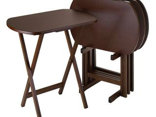 Corbett 4 Piece Oversize Oblong Snack Table Set   Antique Walnut   Winsome  BROKEN STAND AND 1 TABlE  3 GOOD TABlES