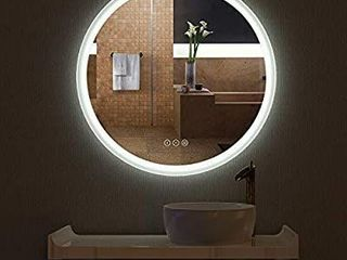 HAUSCHEN R30 inch lED Bathroom Wall Mounted Mirror with High lumen CRI 95 Adjustable Color Temperature Anti Fog Dimmer Function IP44 Waterproof
