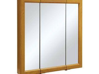 Design House 545301 Claremont Tri View Medicine Cabinet Mirror  30  Honey Oak  MIRRO HAS CRACK IN 1 PANEl