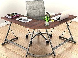 le Crozz SHW l Shape Corner Desk Computer Gaming Desk Table  Walnut
