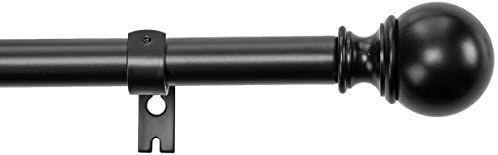 AmazonBasics 1  Curtain Rod with Round Finials   72  to 144  Black