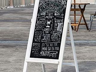 MyGift 26 Inch Freestanding A Frame Chalkboard with Vintage White Wood Frame
