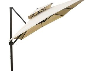 Abba Patio 9 x 12 ft Patio Offset Hanging Umbrella with Solar lights Double Top Rectangular Cantilever Umbrella with Easy Tilt   Cross Base for Garden  Deck  Backyard and Pool  Beige
